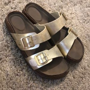 Madden Girl Golden Buckled Sandals